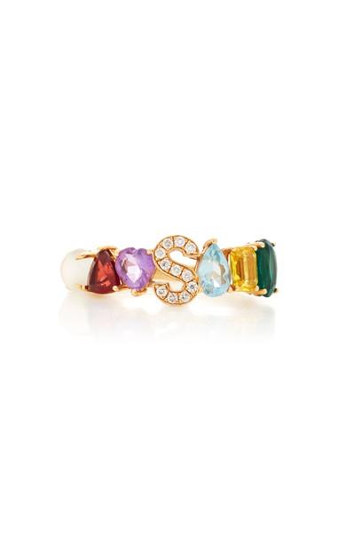 Luisa Alexander Liami Initial Gemstone Ring in multi