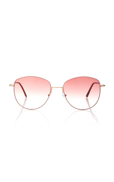 Andy Wolf Eyewear Mila Round-Frame Metal Sunglasses in pink