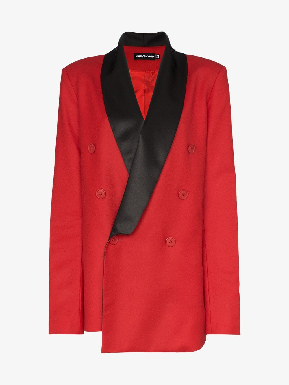 HOUSE OF HOLLAND x THE WOOLMARK COMPANY contrast collar double-breasted blazer jacket in red