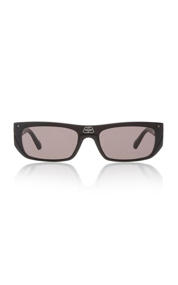 Balenciaga Shield Acetate Square-Frame Sunglasses in black