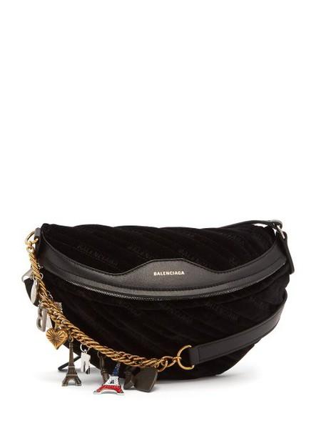 Balenciaga - Souvenir Velvet Belt Bag - Womens - Black