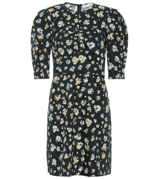 See By Chloé Floral-printed cotton dress in black