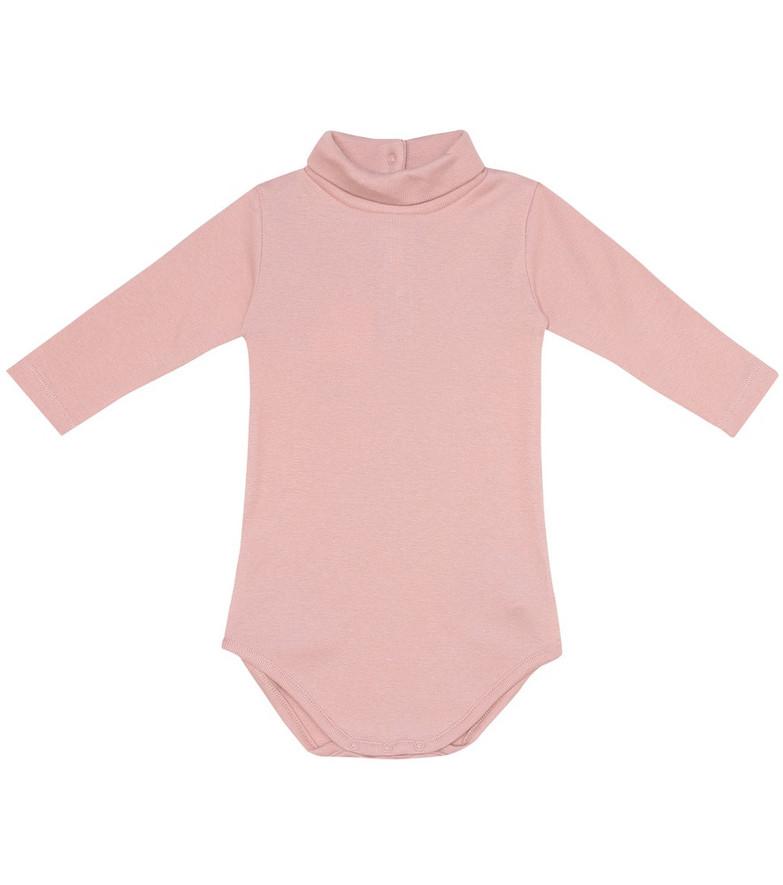 Bonpoint Baby turtleneck cotton onesie in pink