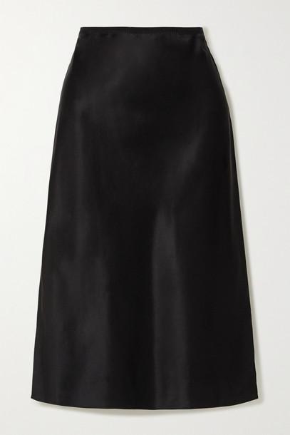 JOSEPH - Isaak Silk-satin Midi Skirt - Black