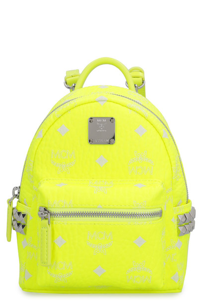 MCM Stark Neon Visetos Mini-backpack With Studs in yellow