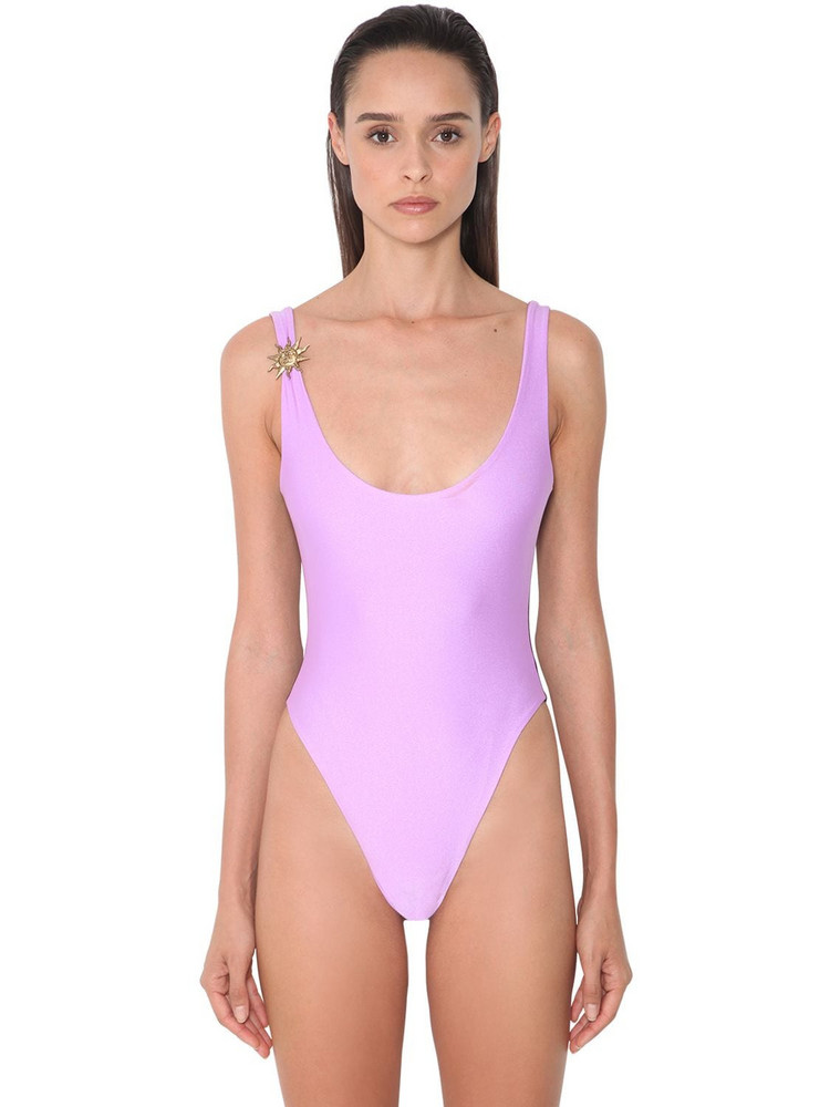 FAUSTO PUGLISI Bicolor Lycra One Piece Swimsuit in pink / purple