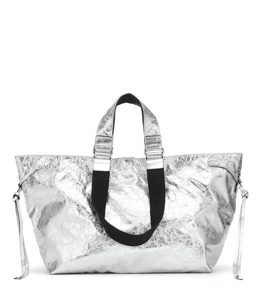 Isabel Marant Wardy metallic leather tote in silver