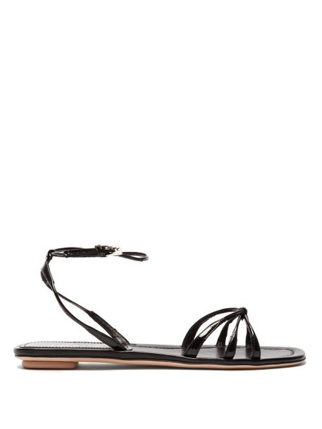 Prada - Knot Front Patent Leather Sandals - Womens - Black
