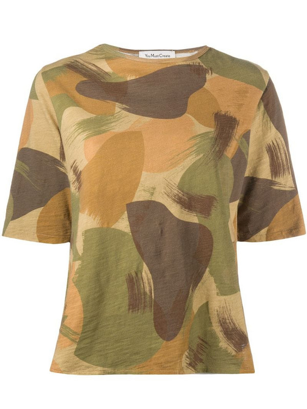 YMC camouflage-print cotton T-shirt in brown