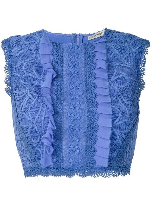 Martha Medeiros Ariella lace cropped top in blue