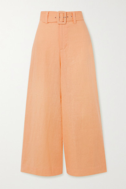 Faithfull The Brand - Rose Cropped Belted Linen Wide-leg Pants - Pastel orange