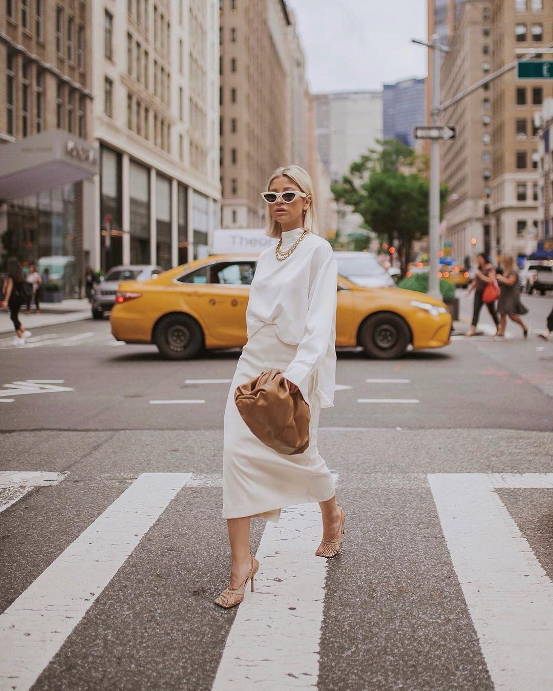 skirt midi skirt white skirt white blouse brown bag slingbacks