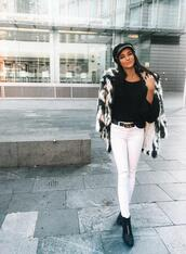 leona meliskova,blogger,coat,sweater,pants,shoes,faux fur jacket,winter outfits,ankle boots,fisherman cap,gucci belt,white pants