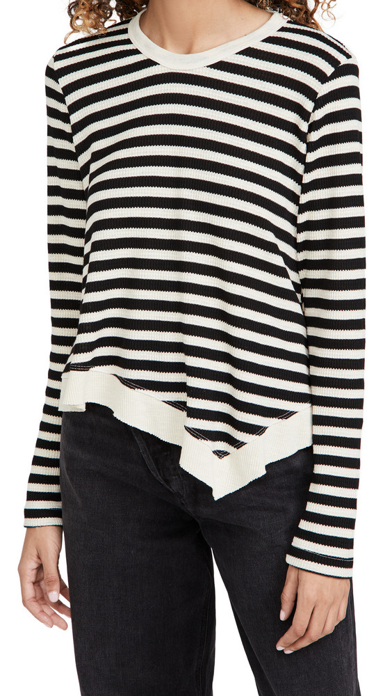 Wilt Slant Hem Stripe Thermal Top in black