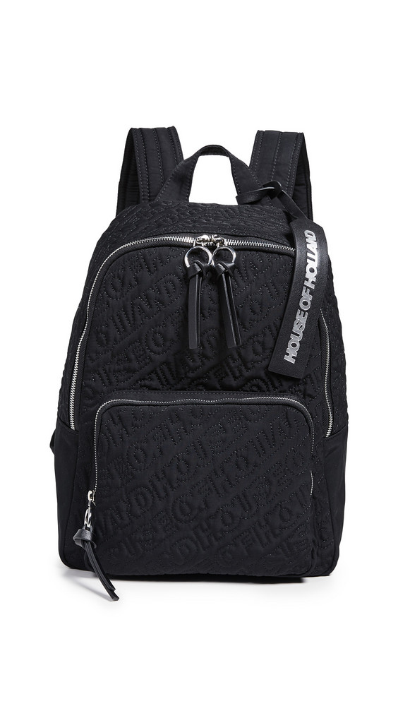 House of Holland Embroidered Backpack in black