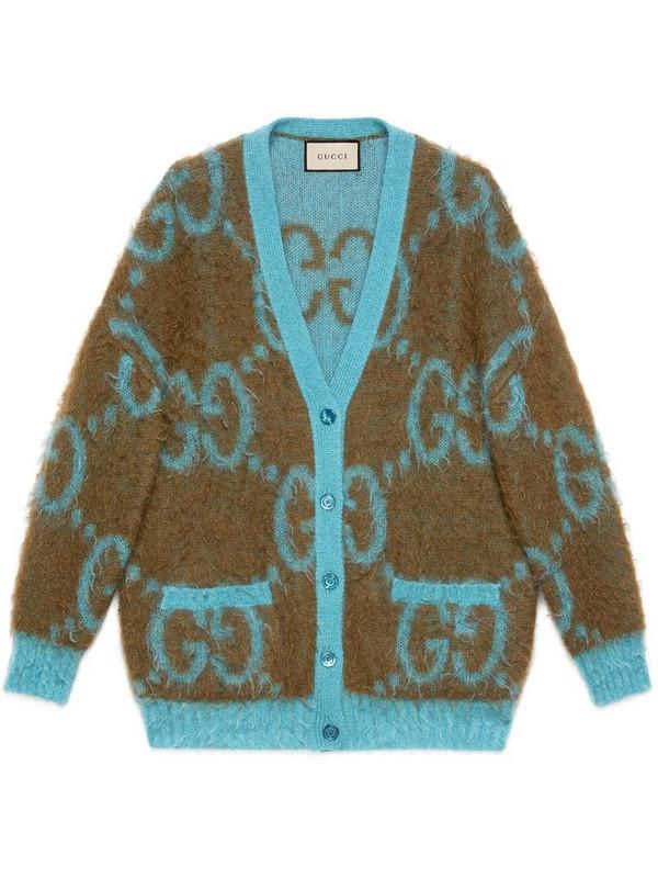 Gucci reversible GG cardigan in brown