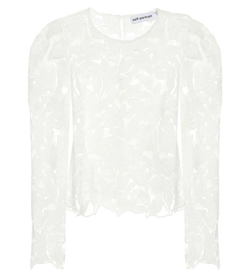 Self-Portrait Floral guipure-lace blouse in white