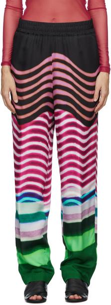 Dries Van Noten Multicolor Len Lye Edition Print Trousers in fuchsia