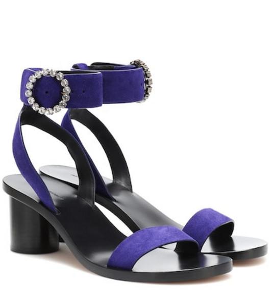 Isabel Marant Jaykee embellished suede sandals in purple