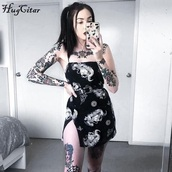 dress,mini dress,dragon,black dress,goth,metal,lolita,black,tube dress,tumblr girl,grunge