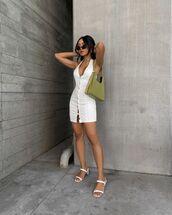 bag,shoulder bag,white dress,mini dress,white sandals