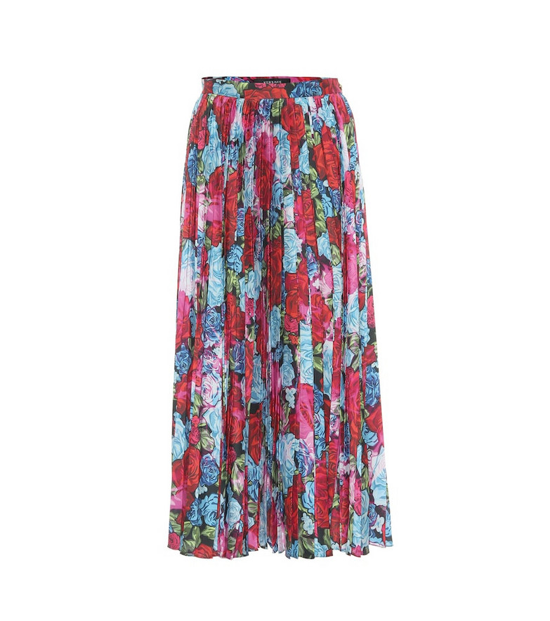 Versace Floral pleated midi skirt