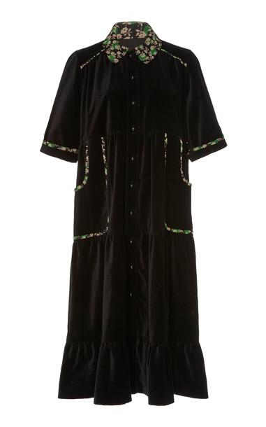 Anna Sui Ruffled-Hem Velveteen Coat Dress Size: M in black