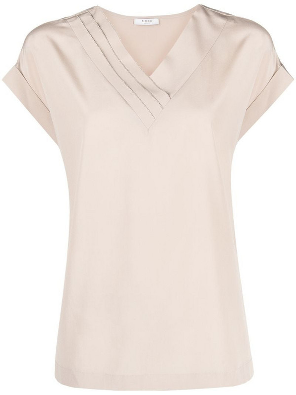 Peserico bead-embellished V-neck blouse in neutrals