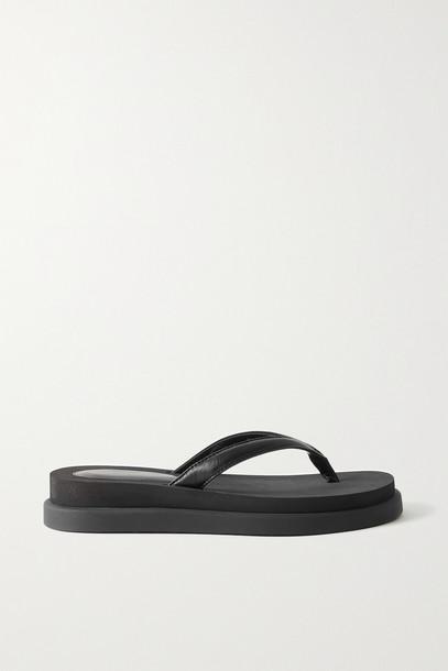 GIANVITO ROSSI - Marlin Leather Platform Flip Flops - Black