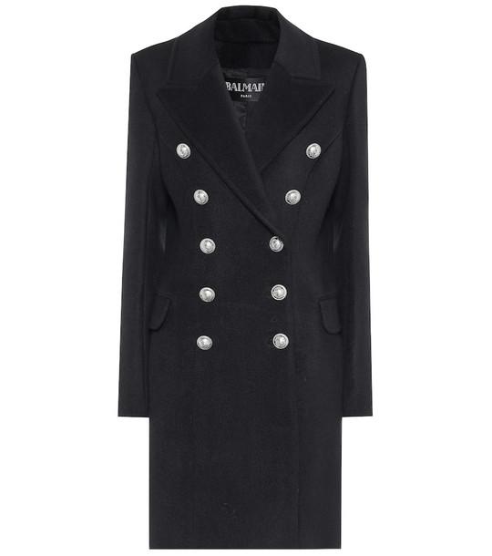 Balmain Wool and cashmere coat in black