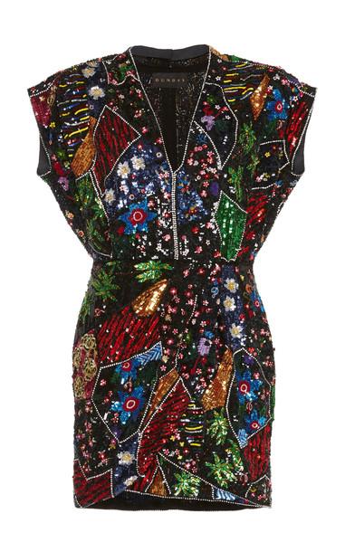 Dundas Sequin V-Neck Mini Dress in multi