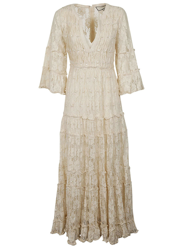 Alexis Beaded Lace Dress in ivory