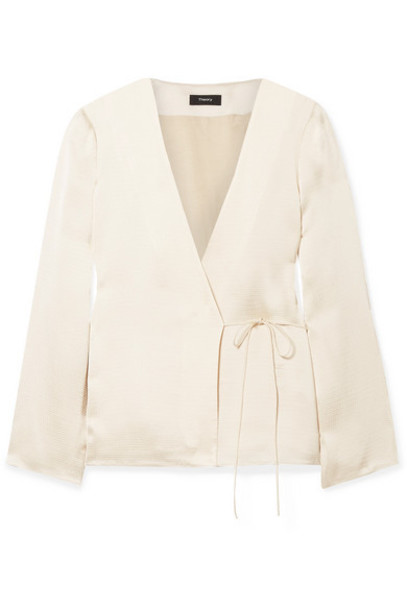 Theory - Hammered-satin Wrap Blouse - Cream