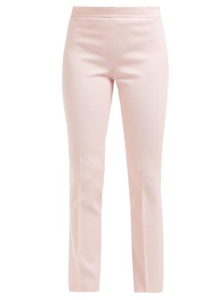 Giambattista Valli - Mid Rise Cotton Blend Twill Trousers - Womens - Light Pink