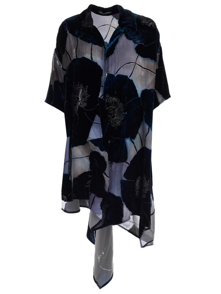 Yohji Yamamoto Floral Applique Shirt Dress in navy
