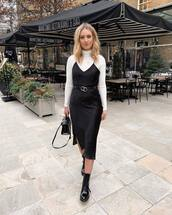 dress,black dress,slit dress,slip dress,topshop,black boots,patent boots,black bag,white turtleneck top,black belt