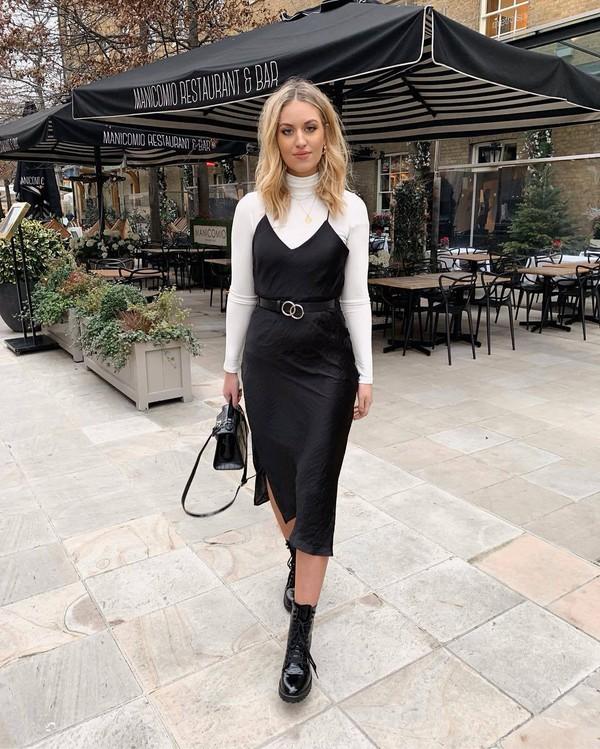 dress black dress slit dress slip dress topshop black boots patent boots black bag white turtleneck top black belt