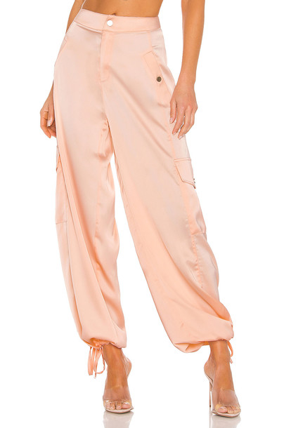 KENDALL + KYLIE Satin Cargo Pant in pink