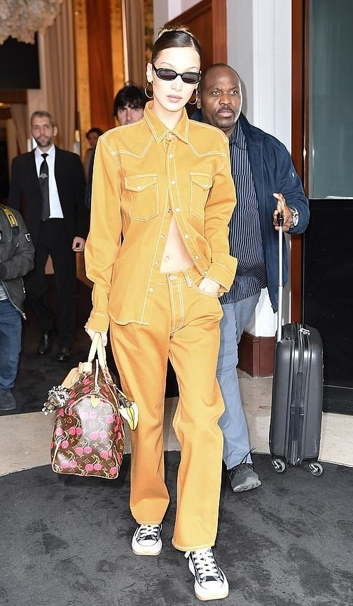 top bella hadid model off-duty shirt pants