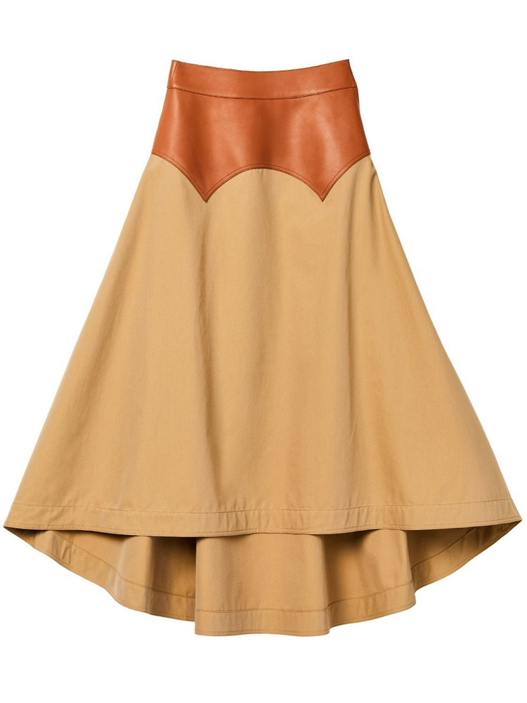 LOEWE Cotton Toile & Leather Skirt in beige