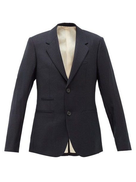Raf Simons - Pinstriped Single-breasted Wool Blazer - Womens - Dark Navy