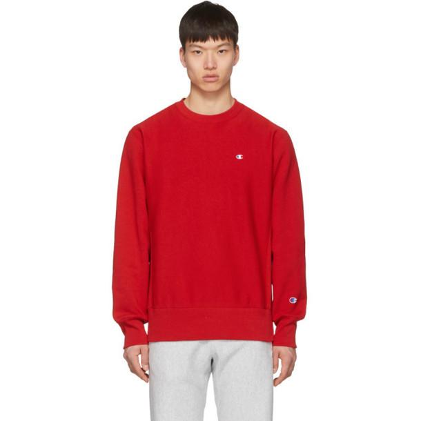 Champion Reverse Weave Red Logo Sweatshirt