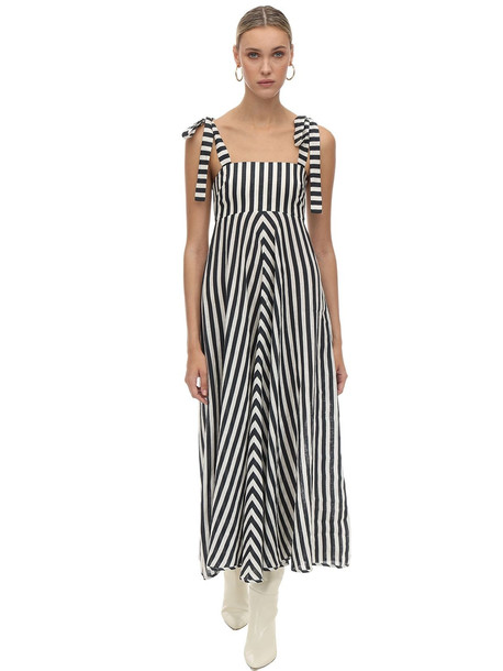 ZIMMERMANN Striped Linen Midi Dress in black / white