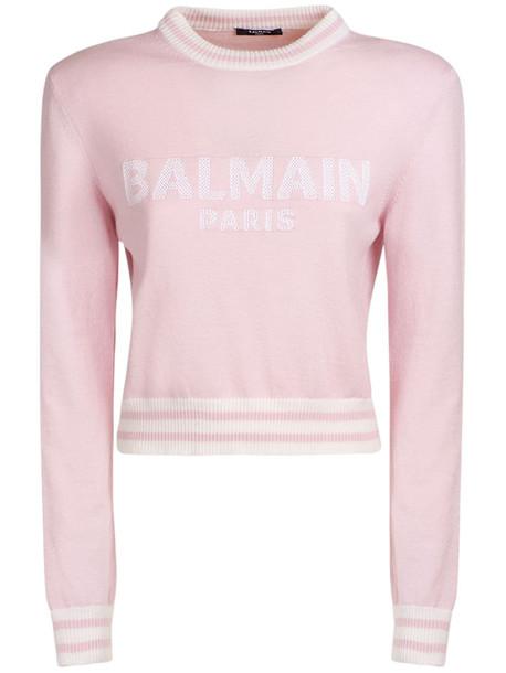BALMAIN Logo Wool Blend Knit Cropped Sweater in white