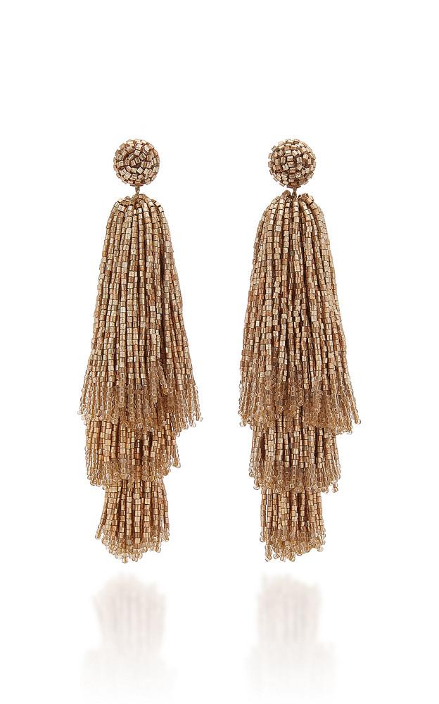 Deepa Gurnani Beaded Tassel Drop Earrings in gold