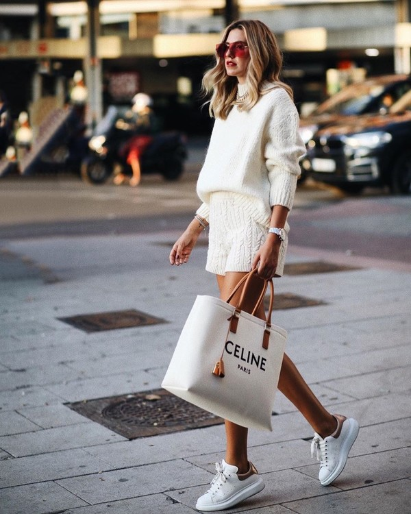 sweater white sweater white shorts white sneakers chanel bag white bag