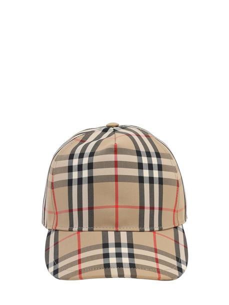 BURBERRY Vintage Check Cotton Blend Baseball Hat in beige