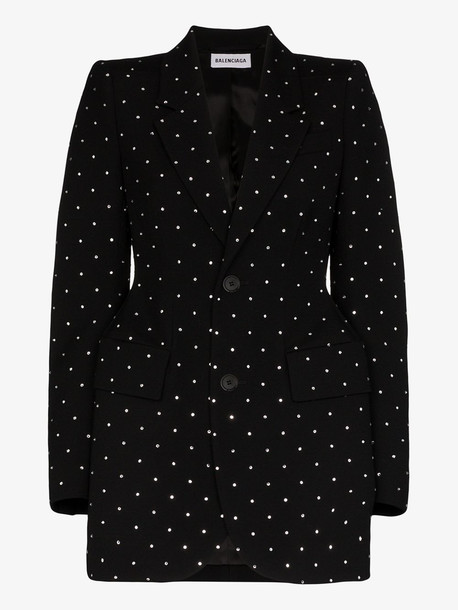 Balenciaga Hourglass strassed wool gabardine blazer in black