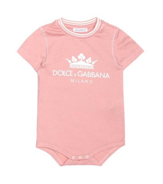 Dolce & Gabbana Kids Logo stretch cotton bodysuit in pink