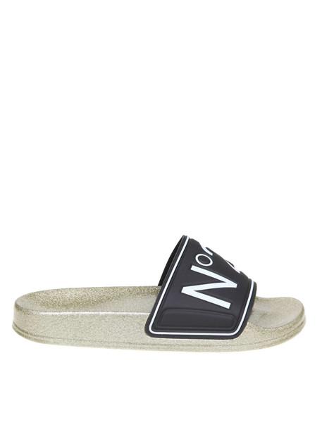 N.21 N ° 21 Slippers Pool Slides In Rubber With Logo in black